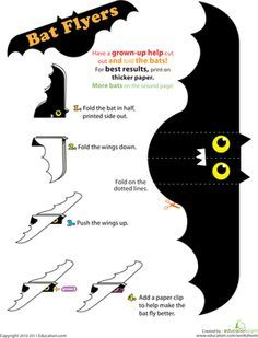 Halloween Preschool Kindergarten Paper Projects Worksheets: Make Bat Flyers Worksheet