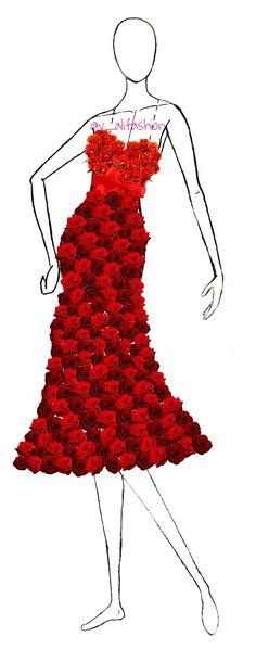Roses dress  #mode #fashion #template #dresstemplate #roses #rosedress