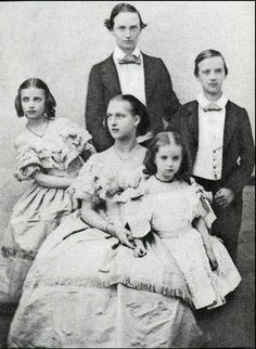 The children of Christian IX and Queen Louise of Denmark. From the left, Dagmar, Frederick, Alexandra, Thyra and William later George I of Greece. 1858ish