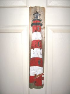 Assateague Island Lighthouse VA Painting on Driftwood by Susan Thau