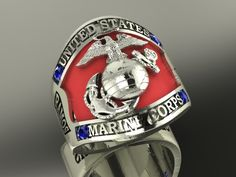 Gold Marine ring created by a Marine for Marines Military Girlfriend, Military Love, Military Spouse, Marine Corps Rings, Us Marine Corps, Marine Corps Uniforms, Marine Recon, Military Jewelry, Army Wives