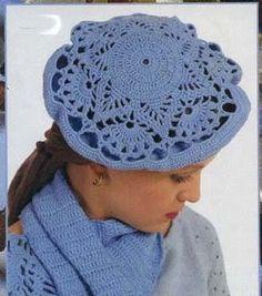 Receitas de Crochet: Boina azul