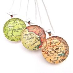 Custom Vintage Map Necklace. Oh, the places you'll go.