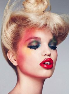 Daphne Groeneveld in Dior photographed by Txema Yeste for Harper's Bazaar Spain, April Makeup by Victor Alvarez. Makeup Inspo, Makeup Art, Makeup Inspiration, Hair Makeup, Pastel Makeup, Colorful Makeup, Makeup Trends, Make Up Looks, Beauty Editorial