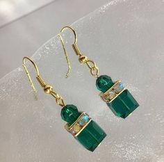 Earrings Swarovski cristal emerald perles nacree swarovski