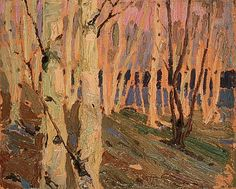 Birch Grove by Tom Thomson Canadian Group of Seven Contemporary Landscape, Abstract Landscape, Landscape Paintings, Emily Carr, Canadian Painters, Canadian Artists, Group Of Seven Paintings, Tom Thomson Paintings, Catalogue Raisonne