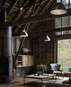 living room and fireplace rustic wooden interior Canyon Barn by MW Works Architecture+Design Architecture Design, Converted Barn, My Dream Home, Interior Inspiration, Study Inspiration, Creative Inspiration, Design Inspiration, Interior And Exterior, Interior Modern