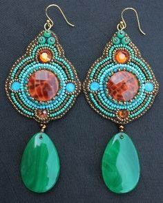 Orange Crab Fire Agate, Carribbean Opal Crystal & Green Teardrop