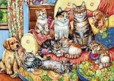 Art Of Debbie Cook | Painting with many cats. Debbie Cook