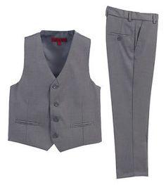 Boys Formal Wear 2 Piece Vest Pants Set Gray Fashion Wedding Party Toddler 2T-5T