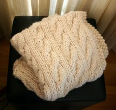 ivory cabled throw (pattern) hand-knit