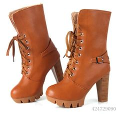 Women's Fashion Shoes High Block Heel Lace Up Ankle Boots US All Size Y930 | eBay