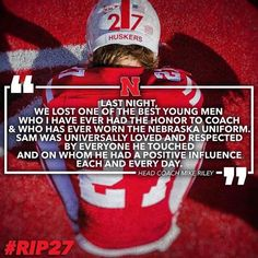 😞🙏🏻 .. RIP Sam Foltz and also Mike Sadler  #rip27 #huskernation