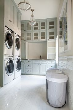 Tracy Hardenburg Designs - laundry/mud rooms - laundry room, laundry room design, laundry room ideas, gray green cabinets, laundry room cabi...