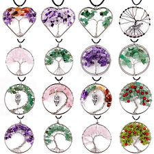 Wire Wrap Tree of Life Crystal Chip Stone Beads Pendant Craft Necklace Jewelry