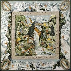 Buy online, view images and see past prices for HERMES Paris - Les Joies de la Montagne. Invaluable is the world's largest marketplace for art, antiques, and collectibles. Versace Scarf, Cooling Scarf, Hermes Paris, French Fashion Designers, Tropical Design, Designer Scarves, Scarf Design, Graphic Prints, Vintage World Maps