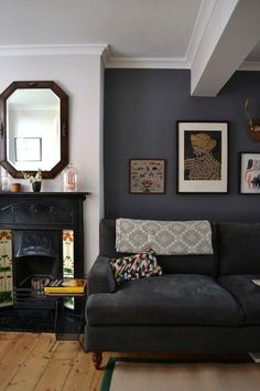 love the dark grey wall! Simple Ways to Refresh Your Home: Our Best Style Secrets & Decorating Ideas