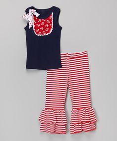 Red Anchor Bib Tank & Ruffle Pants - Infant, Toddler & Girls by Ruby and Rosie #zulily #zulilyfinds