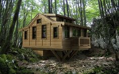 Green modular homes and small house plans Tiny House Cabin, Tiny House Living, Farm House, Primitive Homes, Small Places, Apartment Interior Design, Modular Homes, Small House Plans, Little Houses