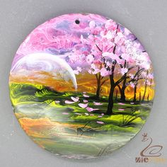 Black Lip Shell Hand Painted Beautiful Scenery  Pendant For Necklace ZL302875 #ZL #Pendant