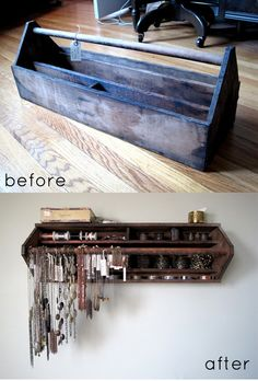 Love this! Old wooden tool box into new shelf/organizer! =D