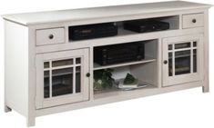 Progressive Furniture Emerson Hills 64 Inch Console with 2 Glass Doors, 2 Drawers and 6 Shelves in White Living Room Modern, Living Room Sofa, Living Room Furniture, Living Room Decor, Cozy Living, Kitchen Furniture, Long Sofa Table, Sofa Tables, Console Tables