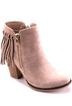 Tan Fringe Booties - PREORDER – Anchored Hope Boutique