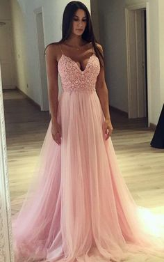 Prom Dress with Thin Straps, Back To School Dresses, Prom Dresses For Teens, Graduation Party Dresses - prom - Kleid Prom Dresses Long Pink, Tulle Prom Dress, Pretty Dresses, Lace Dress, Sexy Dresses, Elegant Dresses, Dress Straps, Wedding Dresses, Prom Dresses Long With Sleeves