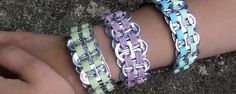 Soda tab bracelet- I saw this on someone this week with different fun ribbons. It's my next project! Can Tab Crafts, Soda Can Crafts, Arts And Crafts, Recycled Art Projects, Diy Projects To Try, Craft Activities For Kids, Crafts For Kids, Soda Tab Bracelet, Soda Can Tabs