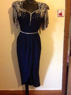 Virgos Lounge dark blue sequin dress, Size 14
