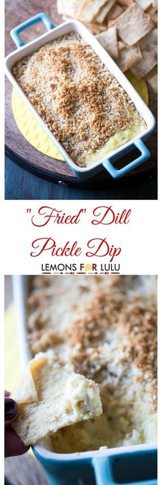 Like fried pickles? Then you will flip over this dill pickle dip! This dip has a perfect crunchy, butter topping that covers hot, gooey, pickle-y filling! This dip will be the life of the party! Dip Recipes, Snack Recipes, Recipies, Appetizer Recipes, Appetizer Dips, Hummus, Dill Pickle Dip, Pickle Pickle, Fried Dill Pickles