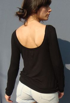 SOLD OUT Designed in 2011 Made to Order women tshirt low back long sleeves   DO ME GOOD  by holacrystal, $45.00