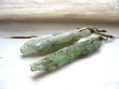 Green Kyanite Earrings Kyanite Stone Earrings by LuminousCreation, $17.00