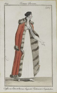 Pelisse with striped fur lining. 1809 costume parisien