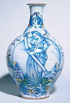 Musée d'Ecouen - Bouteille: La Force. LOA1876 - 1° tiers 16°s. DERUTA (origine). Dépôt musée du Louvre.