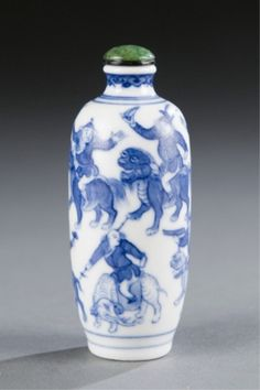Lot 496: A Chinese Xianfeng porcelain snuff bottle with 8 figures on beasts. c.1851-1861. Estimate: $400-$600.