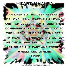 Heart Chakra - Our ability to love.  Location: Center of chest just above heart.  Emotional issues: Love, joy, inner peace.