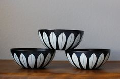 Cathrineholm 5.5 black white lotus enamel bowls by TheVintageSouth