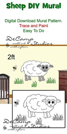 DIY Barnyard Sheep Wall Art Mural Pattern Download for baby boy nursery or kids room decor. Do It Yourself Trace and Paint. Also great for church nursery, childcare, pediatric office, and preschool #decampstudios