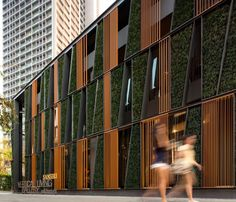 Facade of glass and timber screens with green wall insertions to a Bangkok showroom by architects Sansiri and landscapearchitects Shma. Architecture Design Concept, Green Architecture, Amazing Architecture, Architecture Details, Architecture Definition, Chinese Architecture, Futuristic Architecture, Building Skin, Building Facade