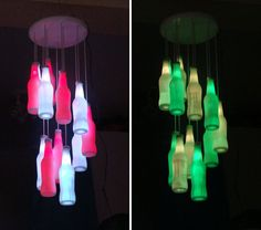 LED Bottle Chandelier - fun for a bar or party decor
