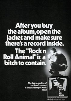An ad from Billboard Magazine for the 1974 live album from Lou Reed, Rock 'n' Roll Animal The Velvet Underground, Rca Records, Vinyl Records, Billboard Magazine, Academy Of Music, Dangerous Minds, Rock Posters, Music Posters, Rockn Roll
