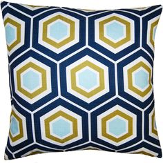Decorative Pillow with Hexagon Pattern in Blue and Yellow and down insert.
