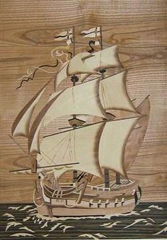 Woodworking Patterns Ship, done in wood inlay. Woodworking Images, Woodworking Patterns, Woodworking Projects, Intarsia Wood Patterns, Wood Carving Patterns, Jewelry Box Plans, Intarsia Woodworking, Scroll Saw Patterns, Pyrography
