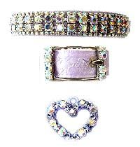 Lavender and aurora borealis rhinestone crystals, lavender embossed rose ribbon, dog collar, collars, dogs, pets