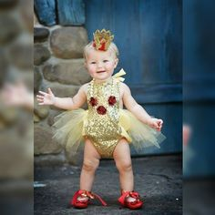 Our Belle romper on this beautiful babe is everything!! Perfect outfit for a Disney Princess #BelleThreadsPinterest