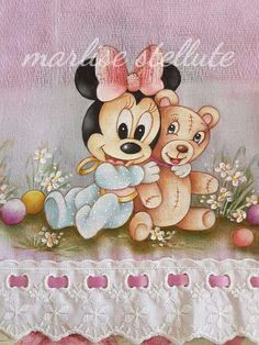 Nicole Rivera, Baby Mickey, Baby Mouse, Fabric Painting, Mikey, Teddy Bear, Pets, Animals, Stationary