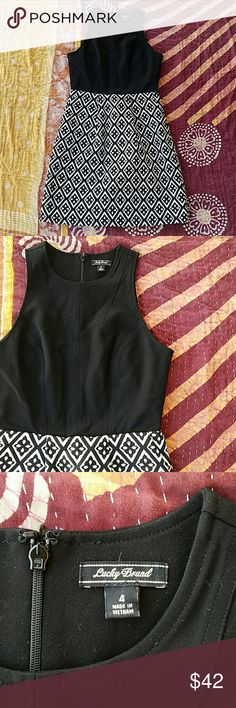 Lucky Brand Black printed A-line Midi Dress 4 Chic look with fitted black bodice, seamlines add interest and flatter the figure  Skirt has a diamond print with a pleat in front Back zipper  Midi length  In good condition  Made by Lucky Brand size 4 Lucky Brand Dresses Midi