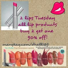 2 lips Tuesday! Don't miss out! Try before you buy at a facial and/or makeover!! Get products for free with me by hosting a Mary Kay party (online or in home). Go to my web-site & register at MK PARTIES. As a Mary Kay beauty consultant I can help you, please let me know what you would like or need. Shop 24/7 Call or text 575-202-2551 or visit my page http://www.marykay.com/HannahHermosillo or visit my Facebook page https://www.facebook.com/MaryKaywithHannahHermosillo