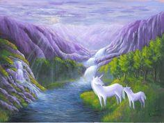Waterfall Unicorn Heaven Painting a print of an by ArtworkByErinn